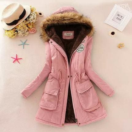 2018 Women Winter Thicken Warm Coat Female Autumn Hooded Cotton Fur Plus Size Basic Jacket Outerwear Light Pink / Xxxl