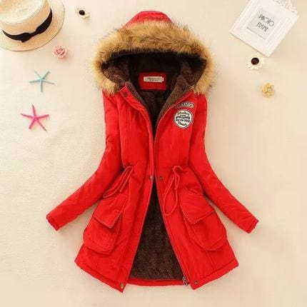2018 Women Winter Thicken Warm Coat Female Autumn Hooded Cotton Fur Plus Size Basic Jacket Outerwear Red / L