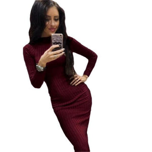 2018 Women's Autumn Spring Dresses Robe Sexy Black Midi Sheath Slim Bodycon Dress Long Sleeve