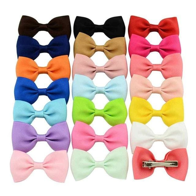 20pcs/lot Colorful Barrettes for Children Baby Girls Ribbon Hair Clip Bows Girls Hairpins Hair - MBMCITY