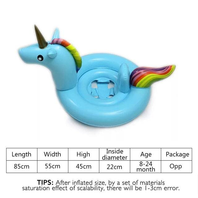 27 Inch Summer Swimming Pool Baby Inflatable Unicorn In Water Child Rainbow Hourse Floating Row Kid Blue Opp