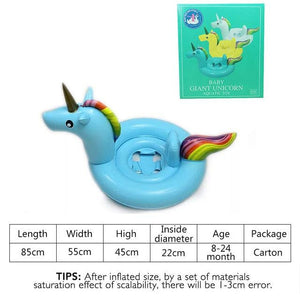 27 Inch Summer Swimming Pool Baby Inflatable Unicorn In Water Child Rainbow Hourse Floating Row Kid Blue Carton