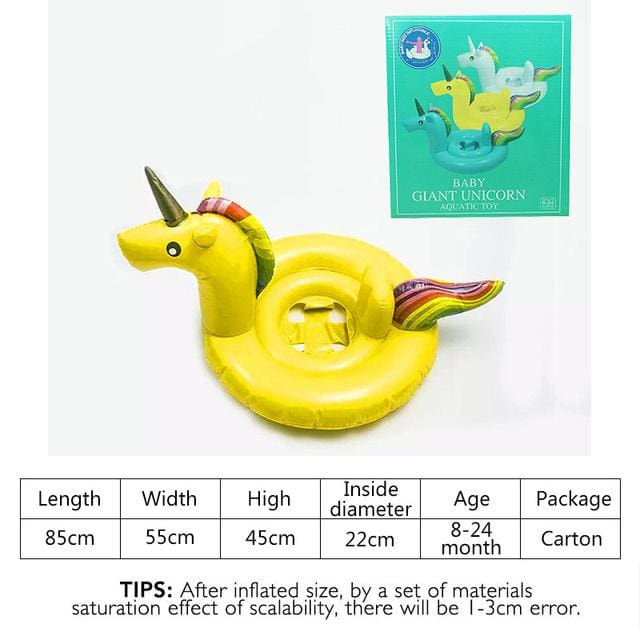 27 Inch Summer Swimming Pool Baby Inflatable Unicorn In Water Child Rainbow Hourse Floating Row Kid Yellow Carton