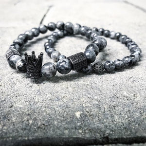 2pcs/set Men Woman Bead Bracelet Crown Charm Bangle Natural  Beads Buddha Bracelet for Women and