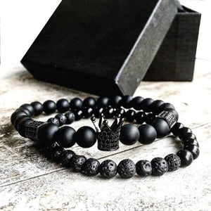 2pcs/set Men Woman Bead Bracelet Crown Charm Bangle Natural  Beads Buddha Bracelet for Women and - MBMCITY