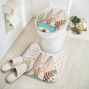 2Pcs/set New Cut Cartoon Rabbit Animal Pattern Bathroom Set Carpet Absorbent Non-Slip Pedestal Rug Sanjiaodi
