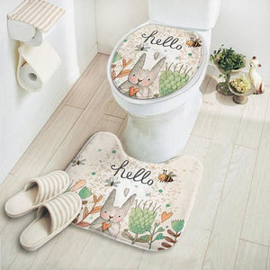 2Pcs/set New Cut Cartoon Rabbit Animal Pattern Bathroom Set Carpet Absorbent Non-Slip Pedestal Rug Tuzihello