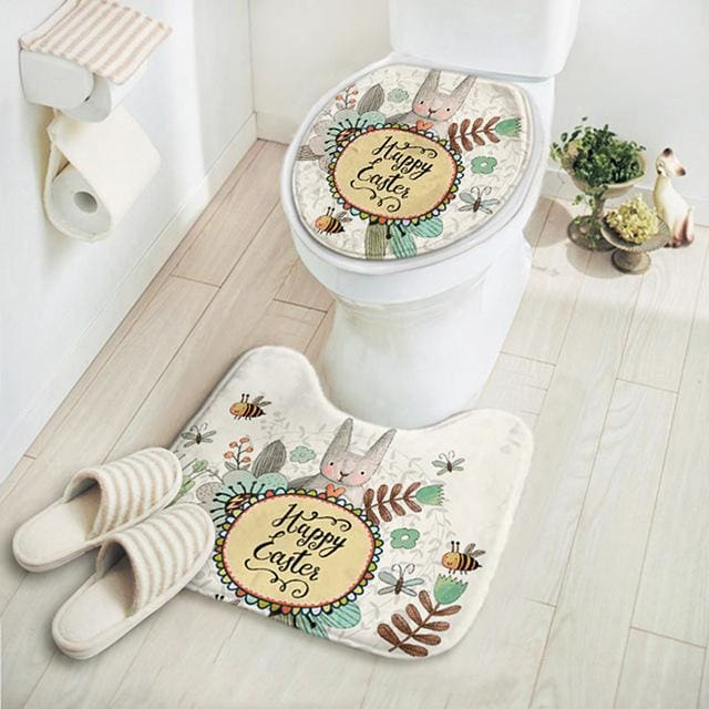 2Pcs/set New Cut Cartoon Rabbit Animal Pattern Bathroom Set Carpet Absorbent Non-Slip Pedestal Rug Tuzihappy