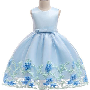 3-10yrs old Lace Flower Formal Evening Gown Flower Wedding Princess Dress Girls Children Clothing skyblue / 2T
