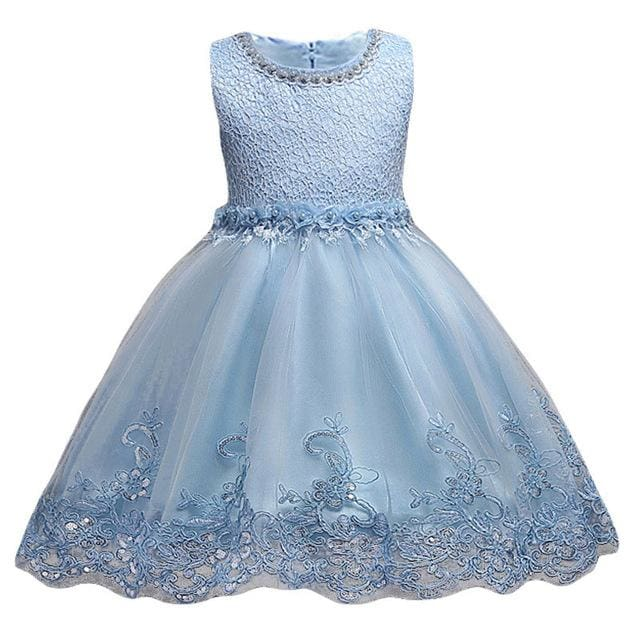 3-10yrs old Lace Flower Formal Evening Gown Flower Wedding Princess Dress Girls Children Clothing Sky Blue / 3T