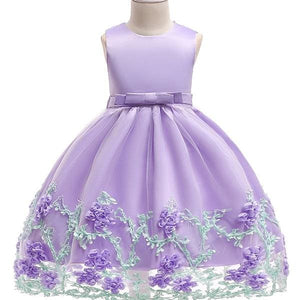 3-10Yrs Old Lace Flower Formal Evening Gown Flower Wedding Princess Dress Girls Children Clothing Lavender / 2T