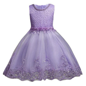 3-10Yrs Old Lace Flower Formal Evening Gown Flower Wedding Princess Dress Girls Children Clothing Purple / 3T