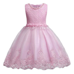 3-10yrs old Lace Flower Formal Evening Gown Flower Wedding Princess Dress Girls Children Clothing pink / 3T