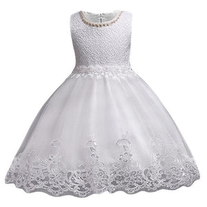 3-10Yrs Old Lace Flower Formal Evening Gown Flower Wedding Princess Dress Girls Children Clothing White / 3T