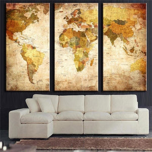 3 Panel Vintage World Map Canvas Painting Oil Painting Print On Canvas Home Decor Wall Art Wall - MBMCITY