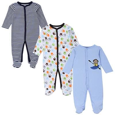 3 PCS Mother Nest Brand Baby Romper Long Sleeves 100% Cotton Baby Pajamas Cartoon Printed Newborn - MBMCITY