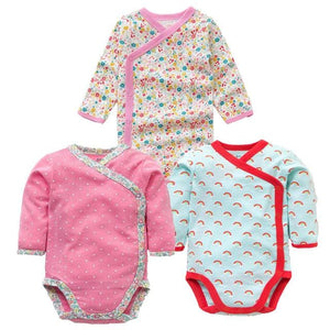 3 Pcs Smiling Babe Brand Baby Romper Long Sleeves Cotton Newborn Baby Girl Boy Clothes Cartoon W / 3M