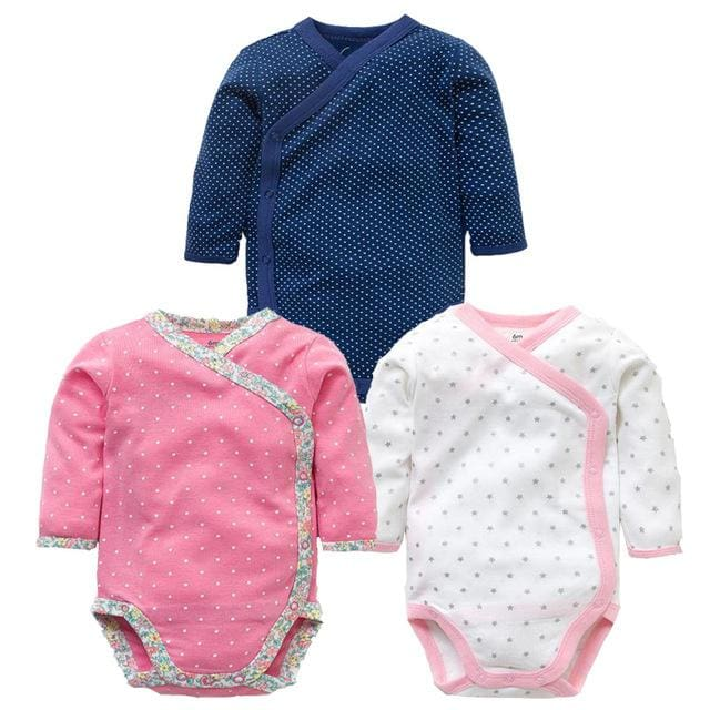 3 Pcs Smiling Babe Brand Baby Romper Long Sleeves Cotton Newborn Baby Girl Boy Clothes Cartoon X / 3M
