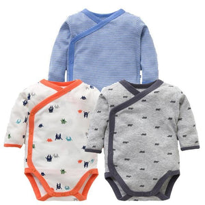 3 PCS Smiling Babe Brand Baby Romper Long Sleeves Cotton Newborn Baby Girl Boy Clothes Cartoon S / 3M