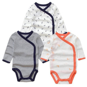 3 Pcs Smiling Babe Brand Baby Romper Long Sleeves Cotton Newborn Baby Girl Boy Clothes Cartoon C / 3M