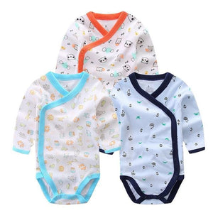 3 PCS Smiling Babe Brand Baby Romper Long Sleeves Cotton Newborn Baby Girl Boy Clothes Cartoon A / 3M