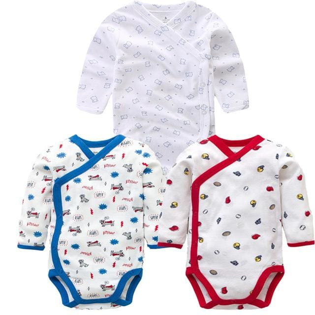 3 PCS Smiling Babe Brand Baby Romper Long Sleeves Cotton Newborn Baby Girl Boy Clothes Cartoon V / 3M