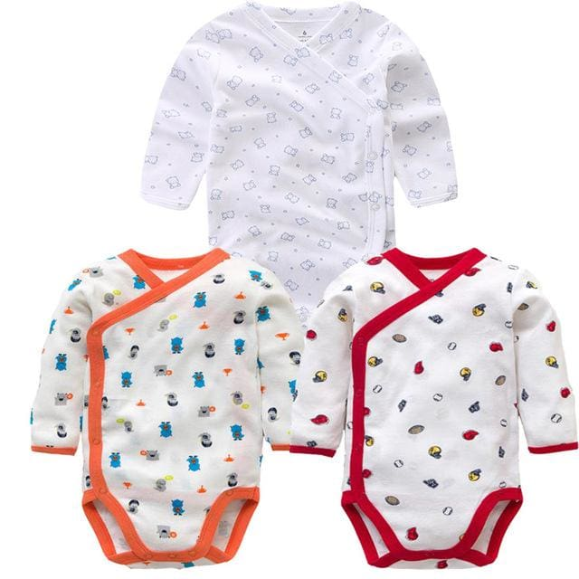 3 PCS Smiling Babe Brand Baby Romper Long Sleeves Cotton Newborn Baby Girl Boy Clothes Cartoon E / 3M