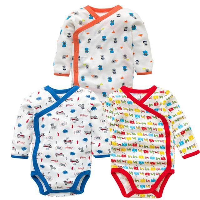 3 PCS Smiling Babe Brand Baby Romper Long Sleeves Cotton Newborn Baby Girl Boy Clothes Cartoon B / 3M