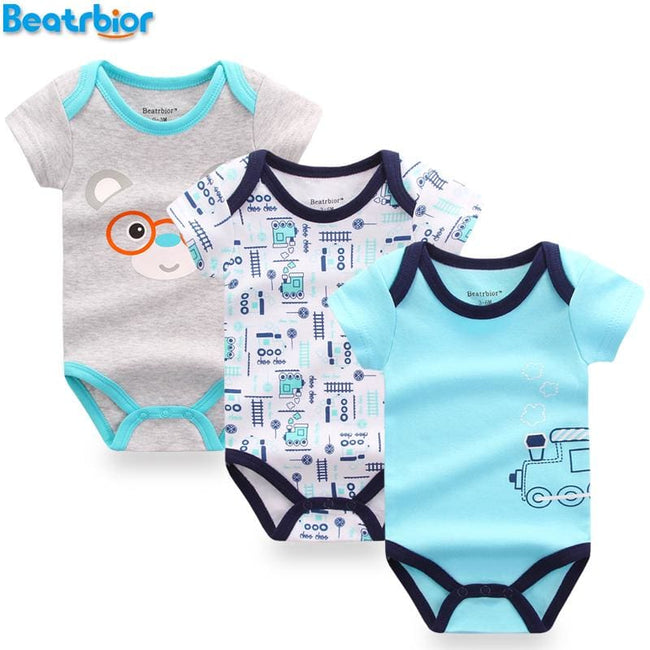 3 pcs/lot Baby Bodysuits Cotton Baby Boy Girl Clothes Next Infant Short Sleeve Jumpsuit Body for - MBMCITY