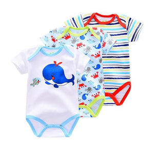 3 Pieces/lot Brand Summer Baby Boys Romper Animal style Short Sleeve cotton infant rompers Jumpsuit - MBMCITY