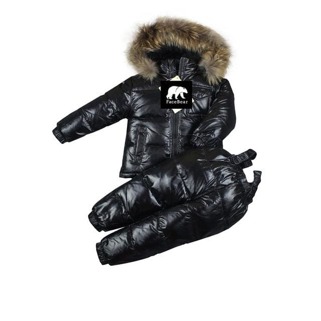 -30 Degree Russia Winter Childrens Clothing Girls Clothes Sets For New Years Eve Boys Parka Black / 5T