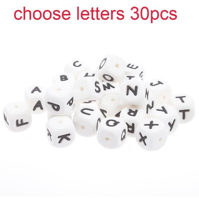 30pc Food Grade Diy 12mm cube Letter Silicone Teething Beads Bpa Free Bead For Baby Teether choose letter