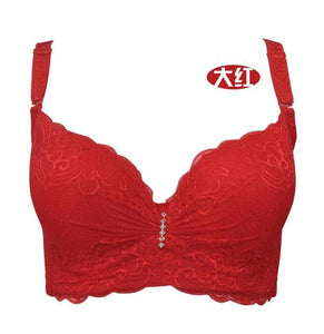 3/4 cup lace push up bra large size sexy women underwear bralette thin section cup C cup D cup E bra red / C / 75