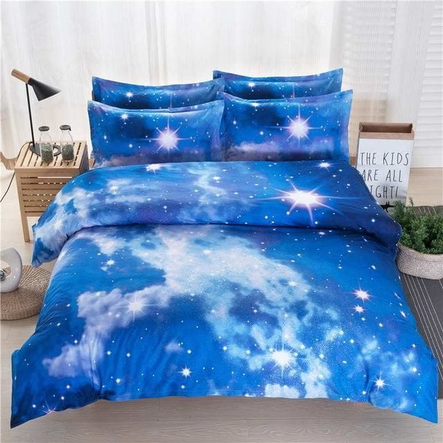3D Galaxy Bedding Set Twin/queen Universe Outer Space Themed Pillowcase Duvet Cover Flat Sheet 10 / Queen 3Pcs No Sheet