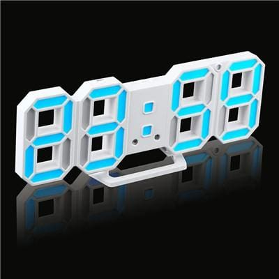 3D Led Wall Clock Modern Digital Alarm Clocks Display Home Kitchen Office Table Desk Night Wall White 6 / China
