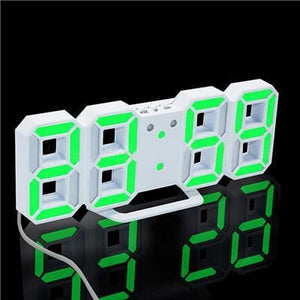 3D Led Wall Clock Modern Digital Alarm Clocks Display Home Kitchen Office Table Desk Night Wall White 4 / China