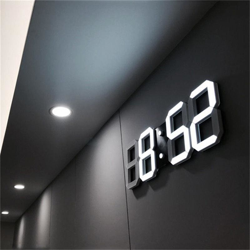 3D LED Wall Clock Modern Digital Alarm Clocks Display Home Kitchen Office  Table Desk Night Wall - MBMCITY