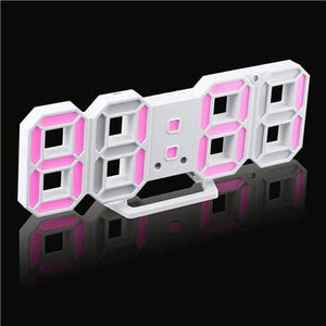 3D Led Wall Clock Modern Digital Alarm Clocks Display Home Kitchen Office Table Desk Night Wall White 5 / China