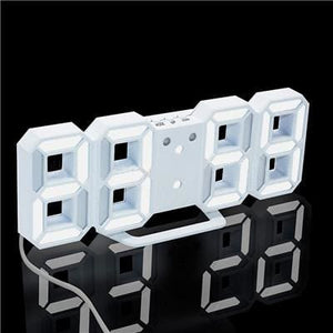 3D Led Wall Clock Modern Digital Alarm Clocks Display Home Kitchen Office Table Desk Night Wall White 1 / China