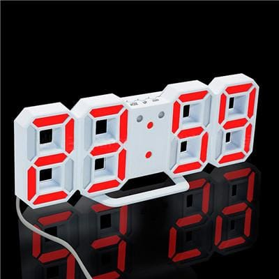 3D Led Wall Clock Modern Digital Alarm Clocks Display Home Kitchen Office Table Desk Night Wall White 3 / China