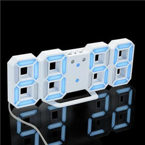3D Led Wall Clock Modern Digital Alarm Clocks Display Home Kitchen Office Table Desk Night Wall White 2 / China