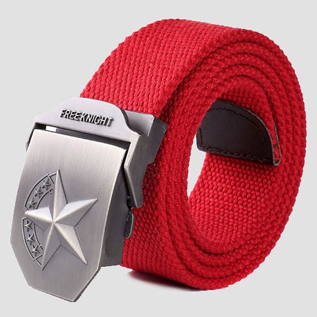 3D Red Star Automatic Buckle Belts Fashion Mens Tactical Canvas Belts Male Casual Strap Waist Of Style2 Red / 110Cm