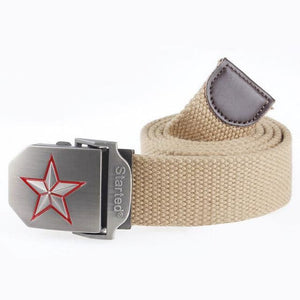 3D Red Star Automatic Buckle Belts Fashion Mens Tactical Canvas Belts Male Casual Strap Waist Of Style1 Khaki / 110Cm