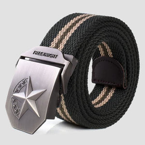 3D Red Star Automatic Buckle Belts Fashion Mens Tactical Canvas Belts Male Casual Strap Waist Of Style2 Army Stripe / 110Cm