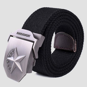 3D Red Star Automatic Buckle Belts Fashion Mens Tactical Canvas Belts Male Casual Strap Waist Of Style2 Black / 110Cm