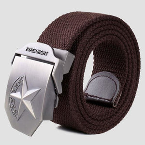 3D Red Star Automatic Buckle Belts Fashion Mens Tactical Canvas Belts Male Casual Strap Waist Of Style2 Coffee / 110Cm