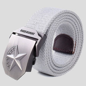 3D Red Star Automatic Buckle Belts Fashion Mens Tactical Canvas Belts Male Casual Strap Waist Of Style2 Gray / 110Cm