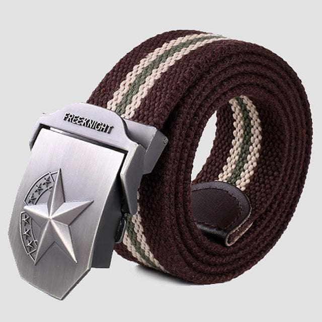 3D Red Star Automatic Buckle Belts Fashion Mens Tactical Canvas Belts Male Casual Strap Waist Of Style2 Coffee Stripe / 110Cm