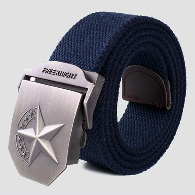 3D Red Star Automatic Buckle Belts Fashion Mens Tactical Canvas Belts Male Casual Strap Waist Of Style2 Blue / 110Cm