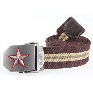 3D Red Star Automatic Buckle Belts Fashion Mens Tactical Canvas Belts Male Casual Strap Waist Of Style1 Coffee Stripe / 110Cm